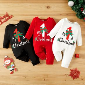 Baby Girl/Boy Christmas Cane and Letter Print Long-sleeve Jumpsuit