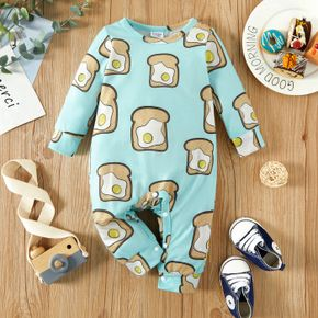 Baby Boy All Over Food Print Long-sleeve Jumpsuit