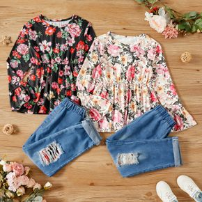 2-piece Kid Girl Floral Print Bell sleeves Peplum Top and Ripped Denim Pants Jeans Set