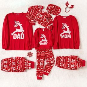 Christmas Reindeer and Letter Embroidered Red Family Matching Long-sleeve Thickened Polar Fleece Pajamas Sets (Flame Resistant)