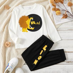2-piece Kid Boy Letter Lion Print Long-sleeve White Top and Black Pants Casual Set
