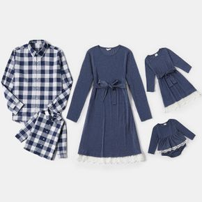 Blue and White Splice Print Long-sleeve Family Matching Sets(Belted Lace Hem Dresses and Plaid Shirts)