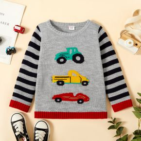Toddler Boy Casual Vehicle Car Pattern Striped Sweater