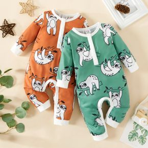 Baby Boy All Over Sloth Print Long-sleeve Jumpsuit
