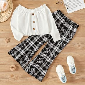 2-piece Kid Girl Button Design Ruffled Off Shoulder White Top and Plaid Flared Pants Set
