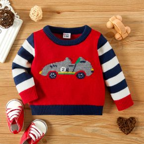 Baby Boy Cartoon Car Pattern Colorblock Striped Long-sleeve Knitted Sweater Pullover
