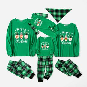 Christmas Gnomes and Letter Print Green Family Matching Long-sleeve Pajamas Sets (Flame Resistant)