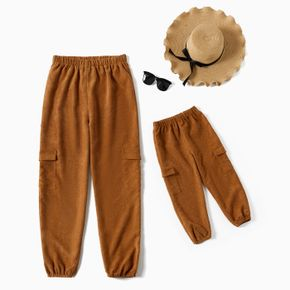 Solid Ribbed Elasticized waist Closed Bottom Pants for Mom and Me