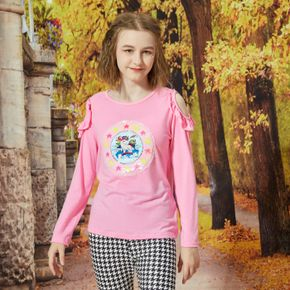 Pretty Kid Girl Unicorn Print Sequined Flounce Cold Shoulder Long-sleeve Pink T-shirt