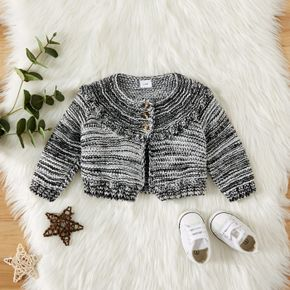 Black and White Blend Knitted Long-sleeve Baby Sweater Cardigan