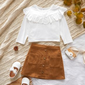 2-piece Toddler Girl Schiffy Design Long-sleeve White Top and Button Design Brown Skirt Set