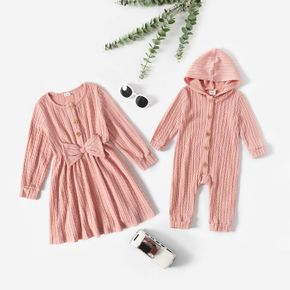 Pink Cable Knit Long-sleeve Sibling Matching Dresses and Hooded Jumpsuits