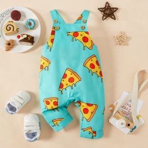 Baby Boy/Girl All Over Pizza Food Print Sleeveless Overalls