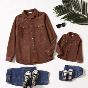 Coffee Corduroy Lapel Button Down Long-sleeve Shirts for Dad and Me