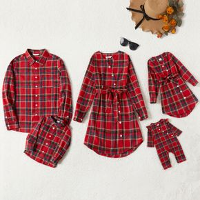 Family Matching Red Plaid Cross Wrap V Neck Long-sleeve Belted Dresses and Shirts Sets