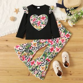 2-piece Toddler Girl Ruffled Floral Print Heart Pattern Ribbed Long-sleeve Top and Flared Pants Set