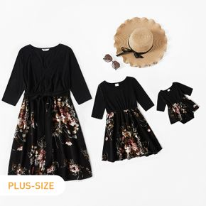 Floral Print Splicing Black Half-sleeve Dress for Mom and Me