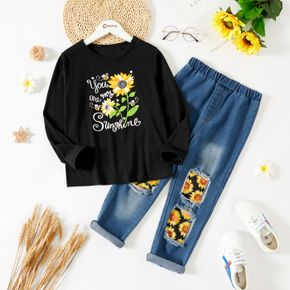 2-piece Kid Girl Floral Print Pullover Sweatshirt and Patchwork Ripped Denim Jeans Set