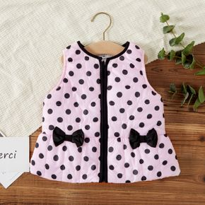Baby Girl All Over Polka Dots Thickened Lined Sleeveless Coat Outwear