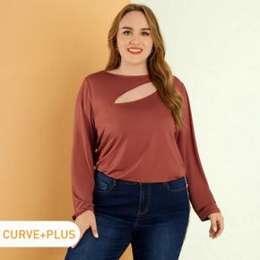 Women Plus Size Casual Hollow out Front Long-sleeve Ginger Tee