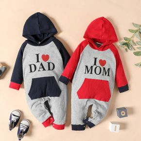 100% Cotton Ribbed Letter Print Colorblock Baby Long-sleeve Hooded Jumpsuit