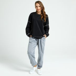 Casual Black Round-collar Long-sleeve Pullover