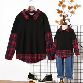 Red and Black Plaid Lapel Long-sleeve Faux-two Long-sleeve Cotton Shirts for Dad and Me