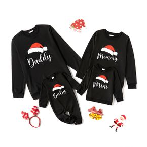 Christmas Hat and Letter Print Black Family Matching Long-sleeve Sweatshirts