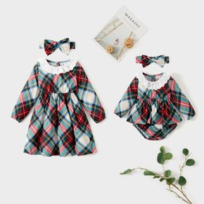 Ruffle Doll Collar Long-sleeve Plaid Dress for Sister and Me