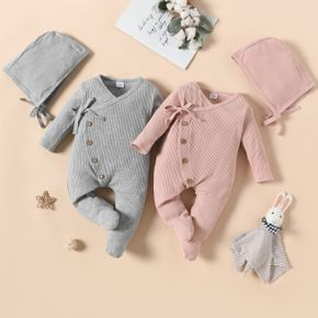 2pcs Baby Cotton Ribbed Solid Long-sleeve Footed Jumpsuit Set