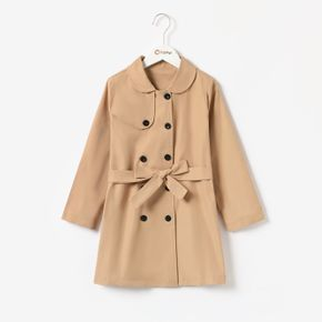 Kid Girl Lapel Collar Double Breasted Belted Khaki Trench Coat