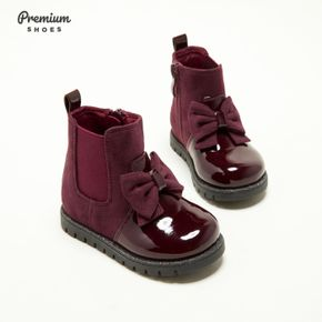 Toddler / Kid Bowknot Decor Side Zipper Solid Color Boots