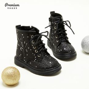 Toddler / Kid Stars Pattern Side Zipper Perforated Lace-up Black Boots