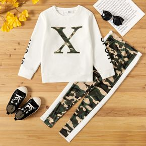 2-piece Kid Girl Letter Camouflage Print Pullover Sweatshirt and Colorblock Pants Set