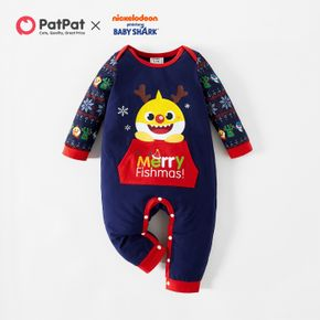 Baby Shark Merry Christmas Cotton Antler Jumpsuit for Baby