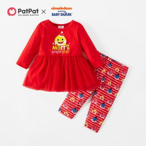 Baby Shark 2-piece Baby Girl Christmas Cotton and Mesh Top and Allover Pants Set