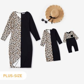 Leopard and Black Splicing Long-sleeve Midi Dress for Mom and Me