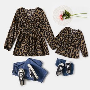 Leopard Cross Wrap V Neck Long-sleeve Tops for Mom and Me