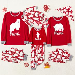 Christmas Polar Bear and Letter Print Red Family Matching Long-sleeve Pajamas Sets (Flame Resistant)