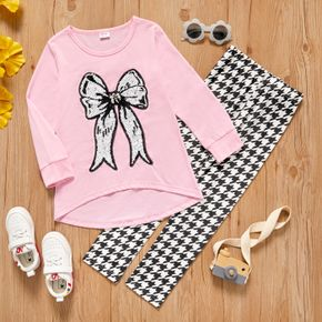 2-piece Kid Girl Bowknot Sequined Design Long-sleeve Tee and Houndstooth Leggings set