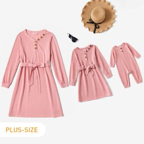 Pink V Neck Long-sleeve Belted Knitted Dress for Mom and Me
