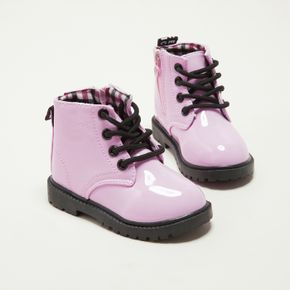 Toddler Perforated Lace-up Plaid Lining Pink Boots