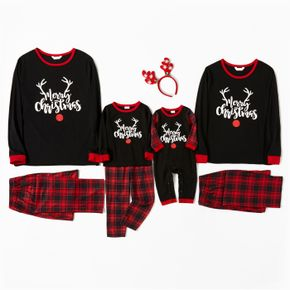 Christmas Antlers and Letter Print Black Family Matching Long-sleeve Plaid Pajamas Sets (Flame Resistant)
