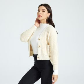 Solid Color Long-sleeve Button Placket Cropped Cardigan Sweater