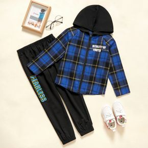 2-piece Kid Boy Letter Print Plaid Zipper Hooded Jacket and Pants Casual Set