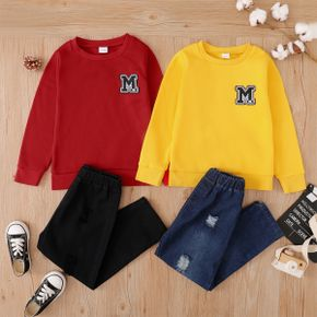 2-piece Kid Boy Letter Embroidered Sweatshirt and Ripped Denim Jeans Set