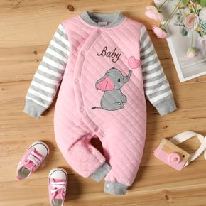 100% Cotton Cartoon Elephant Print Striped Long-sleeve Pink Baby Thickened Jumpsuit