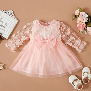 Baby Girl 3D Butterfly Appliques Pink Long-sleeve Mesh Party Dress