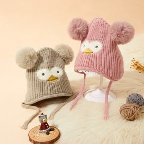 Baby Double Pompon Decor Cartoon Lace-up Knitted Hat