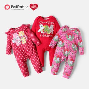 Care Bears Baby Girl Christmas Floral and Dots Jumpsuit